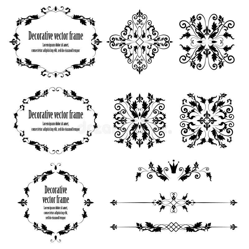 Bloemen geplaatste ontwerpelementen, sier uitstekende voorwerpen stock illustratie
