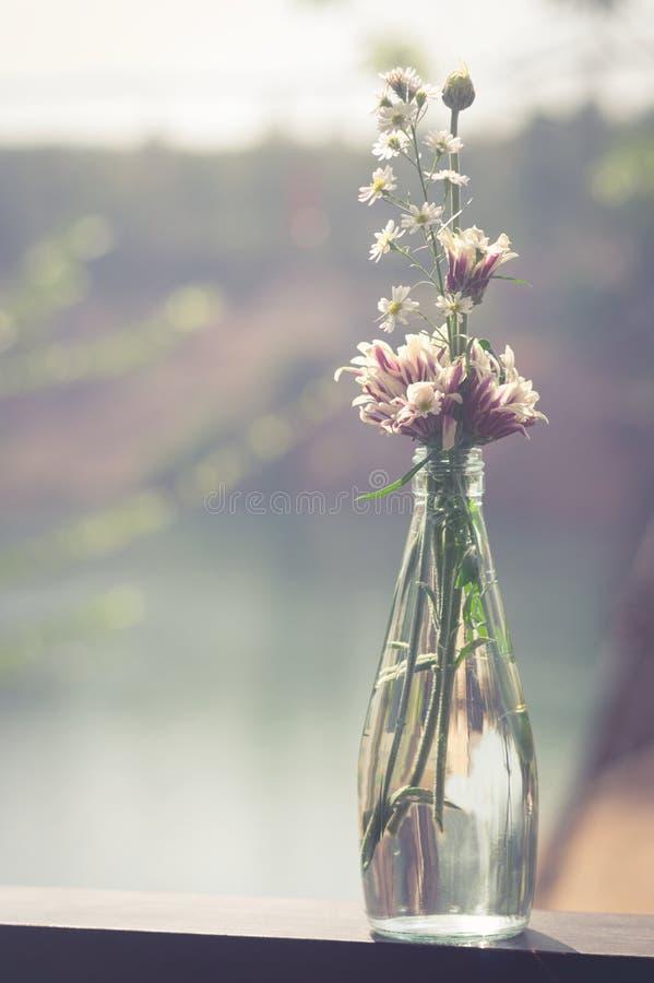 Bloemen in glasfles, gefiltreerde wijnoogst stock afbeeldingen