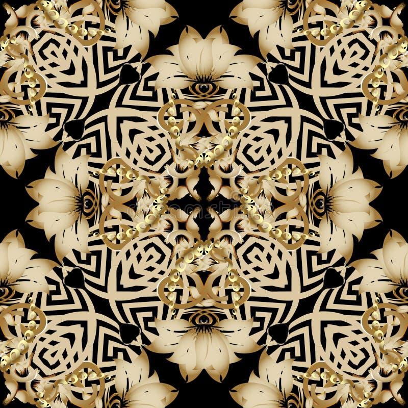 Bloemen gouden 3d uitstekend Grieks naadloos patroon Barokke Damast sierachtergrond Elegantie gouden bloemen, geometrische blader royalty-vrije illustratie