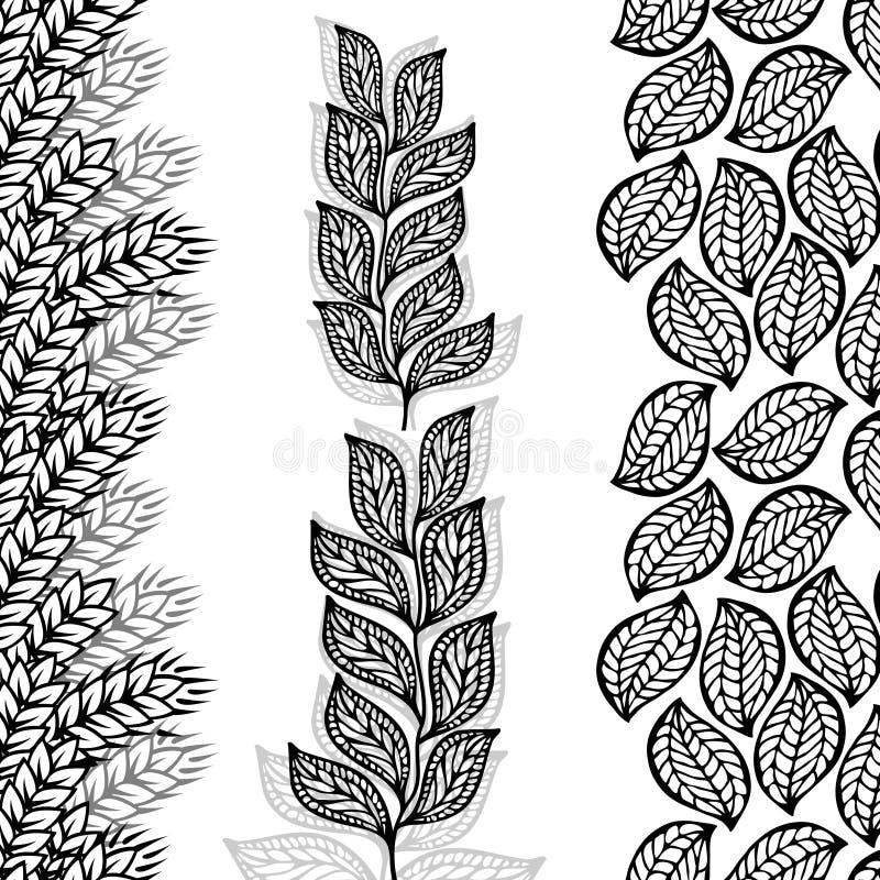 Bloemen grenzen, naadloos door verticaal vector illustratie