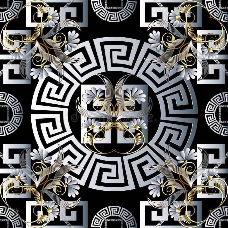 Bloemen Grieks 3d naadloos patroon Vectormeanderachtergrond Orn stock illustratie