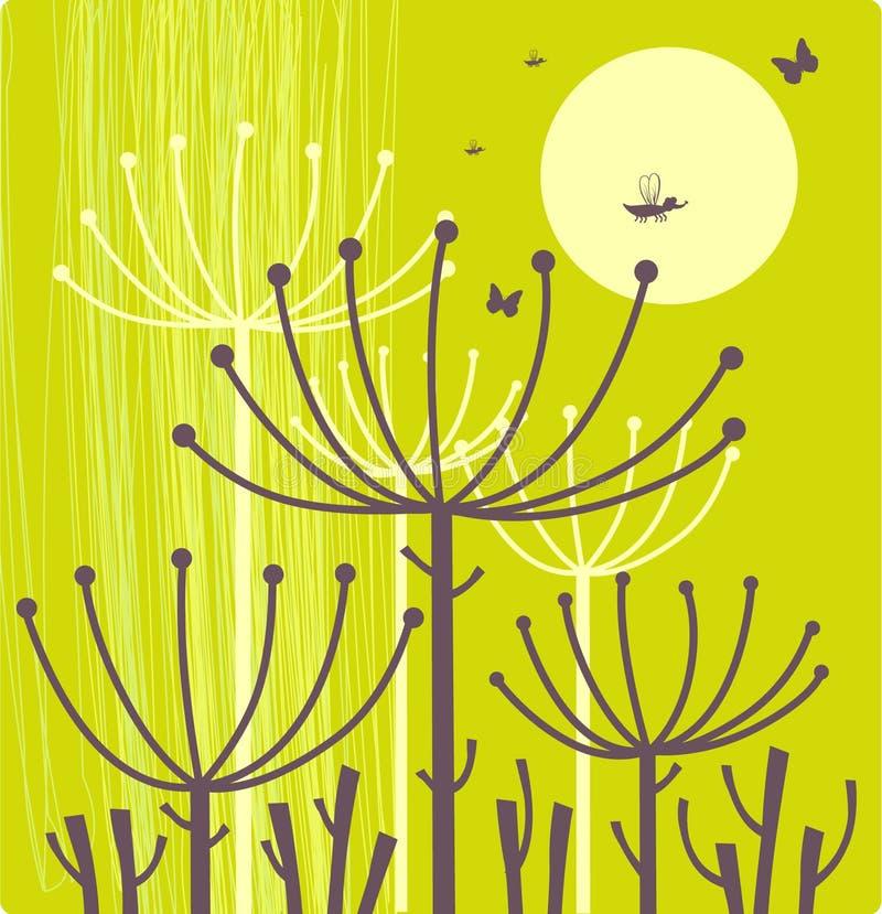 Bloemen groene achtergrond vector illustratie