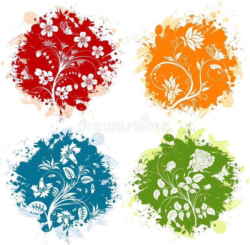 Bloemen grunge stock illustratie