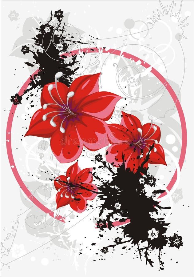 Bloemen grunge vectorachtergrond vector illustratie