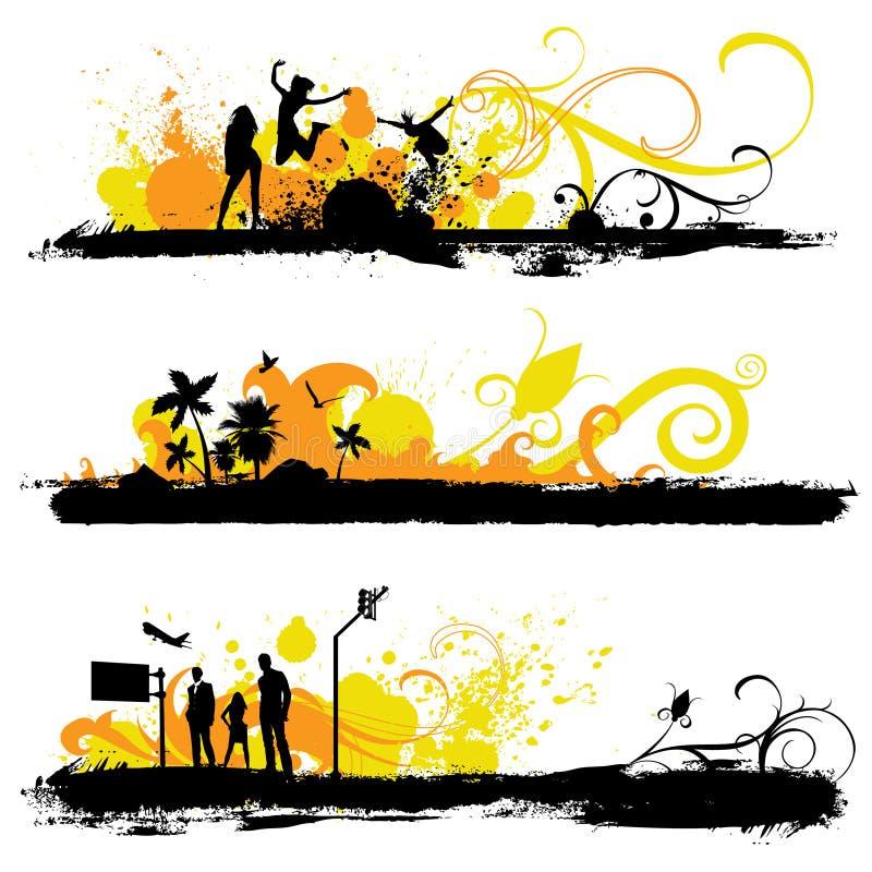 Bloemen grungeachtergronden vector illustratie