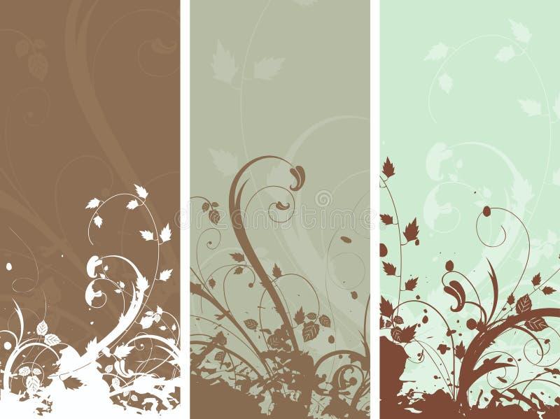 Bloemen grungepanelen royalty-vrije illustratie