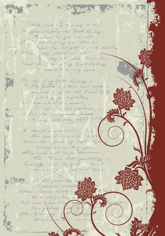 Bloemen het frame van Grunge achtergrond vector illustratie