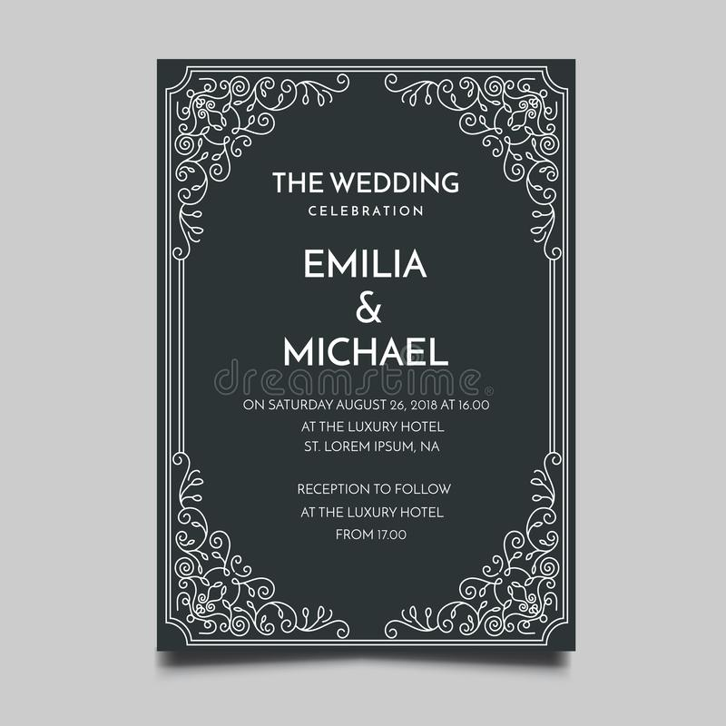 Bloemen het Malplaatje Eenvoudig en Elegant Ontwerp van de Huwelijksuitnodiging royalty-vrije illustratie