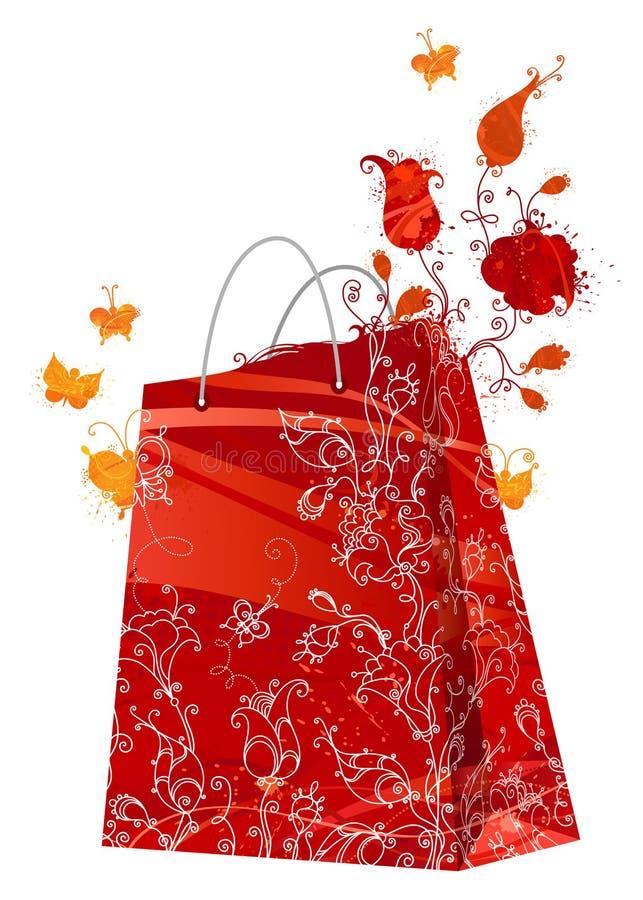 Bloemen het winkelen zak vector illustratie