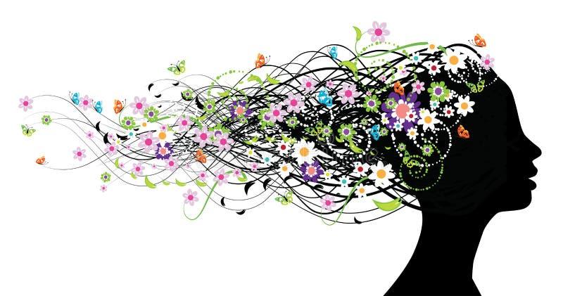 Bloemen hoofdsilhouet stock illustratie