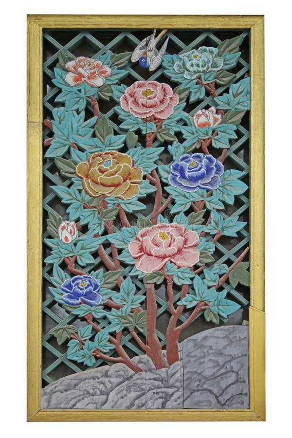 Bloemen, houtsnijwerk royalty-vrije stock afbeelding
