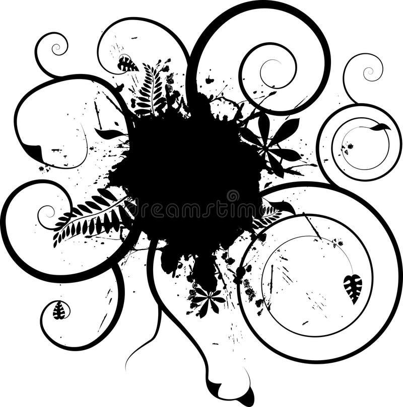 Bloemen inkt splat stock illustratie