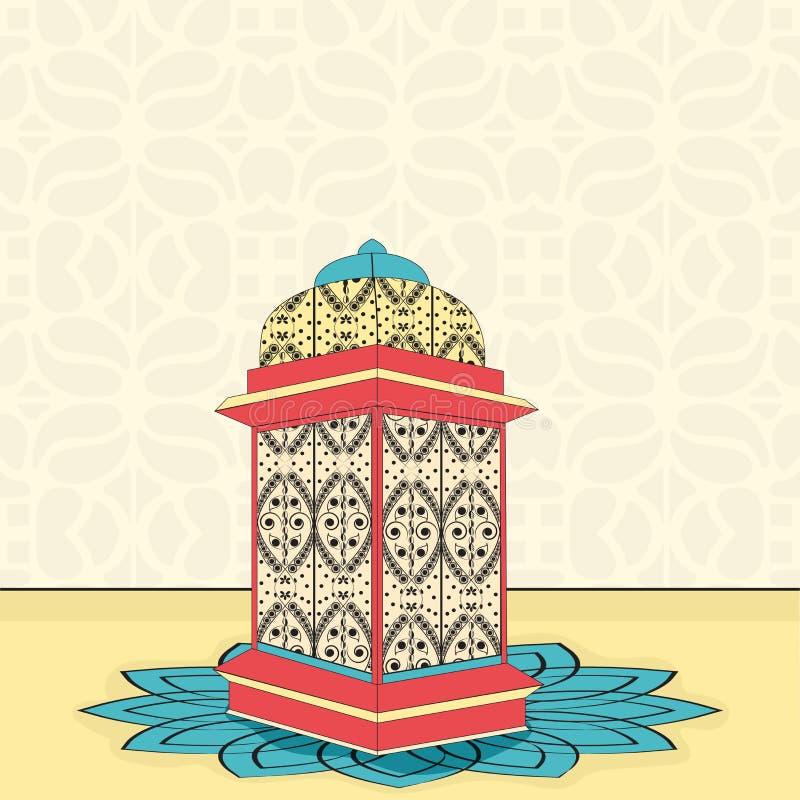Bloemen Islamitische Moskee voor viering van de maandramadan kareem van Moslims de heilige vector illustratie