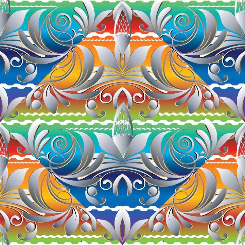 Bloemen kleurrijk hand getrokken naadloos patroon Uitstekende vector brig royalty-vrije illustratie