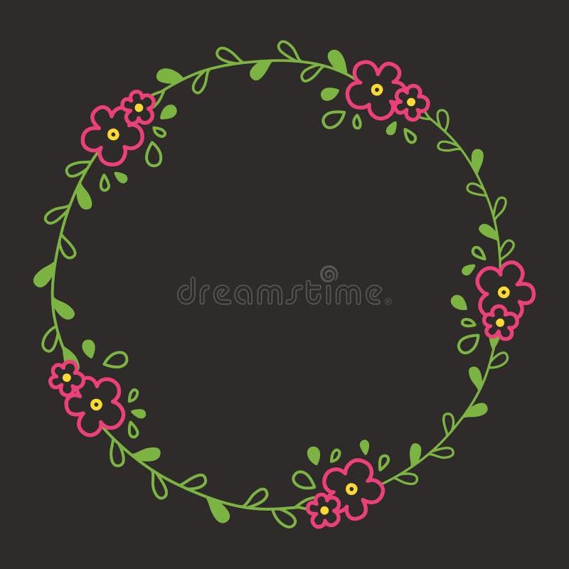 Bloemen kleurrijk lijnkroon of cirkelkader met roze bloei royalty-vrije illustratie