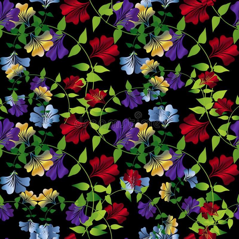 Bloemen kleurrijk naadloos patroon De vector bloeit achtergrond wal vector illustratie