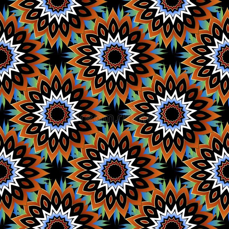 Bloemen kleurrijk naadloos patroon Decoratieve sier vectorachtergrond Het etnische ornament van stijl heldere abstracte bloemen h vector illustratie