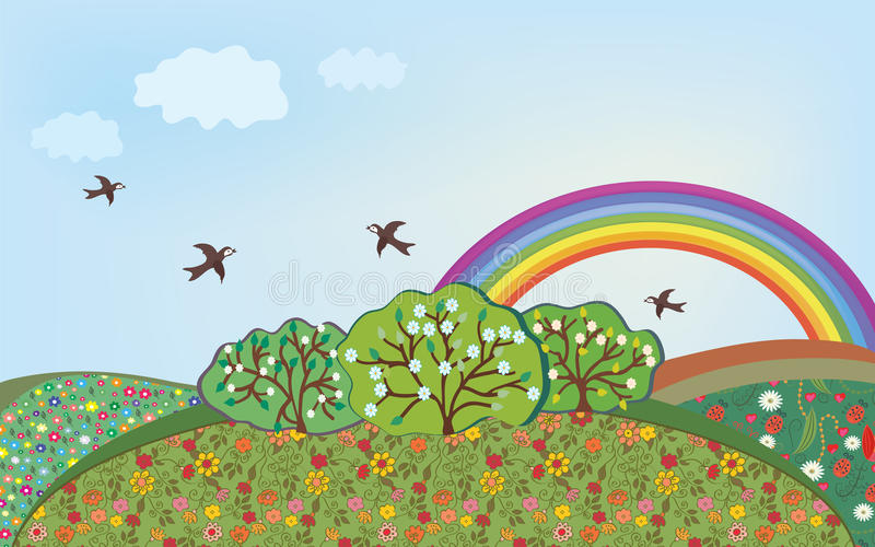 Bloemen landschap met regenboog royalty-vrije illustratie