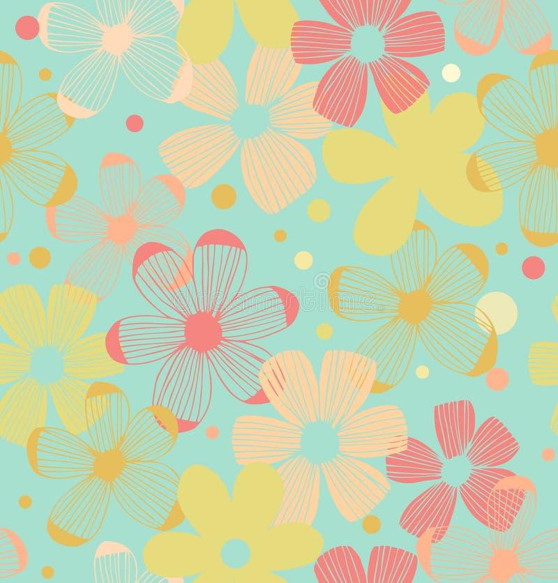 Bloemen leuke patroon Naadloze achtergrond met bloemen stock illustratie