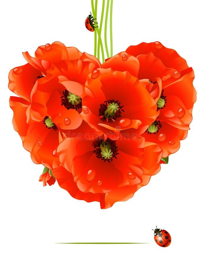 Bloemen liefdekaart (papaverhart) stock illustratie
