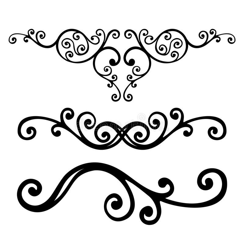 Bloemen lijnen royalty-vrije illustratie