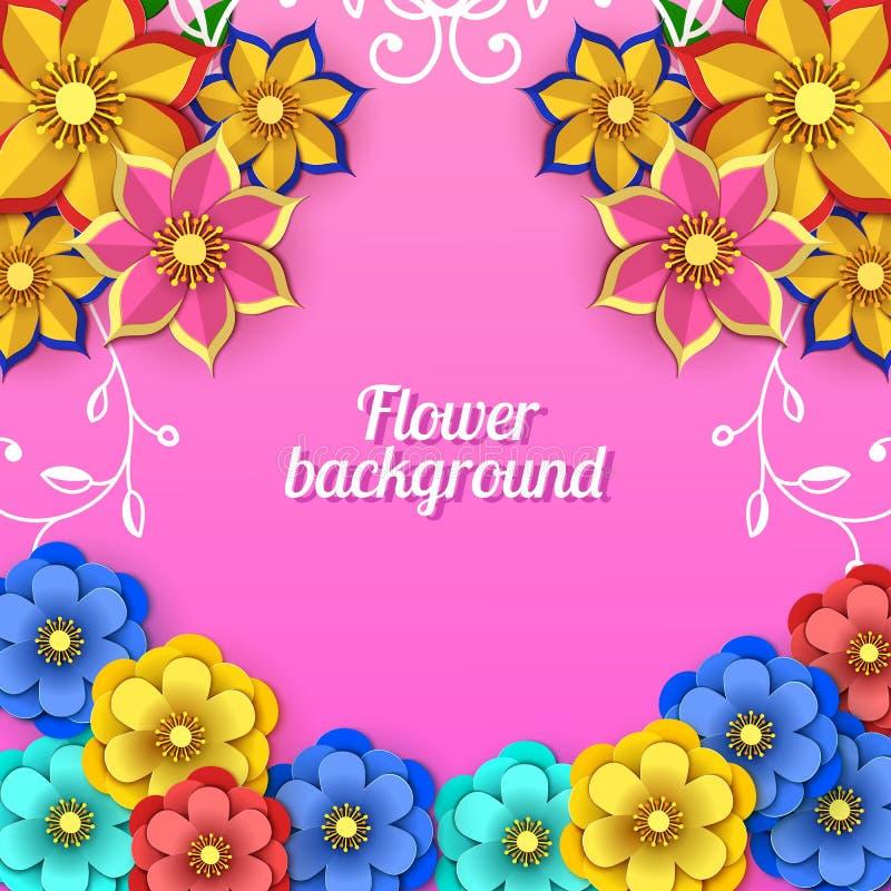 Bloemen 8 maart-groetkaart Gelukkige Vrouwen` s Dag Document het kader van de snijbloemvakantie op roze achtergrond met met cijfe stock illustratie