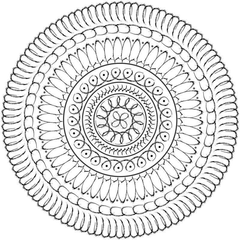 Bloemen mandala, geometrische tekening - heilige cirkel vector illustratie