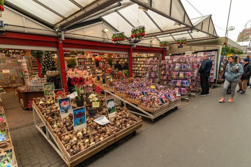 Bloemen Market Amsterdam Olanda fotografie stock libere da diritti