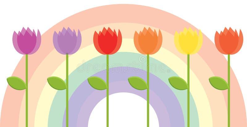 Bloemen met een Achtergrond van de Regenboog stock illustratie