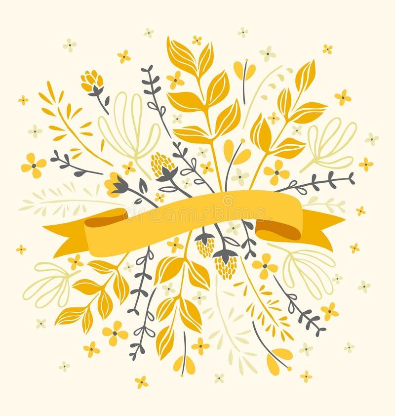 Bloemen met lint royalty-vrije illustratie