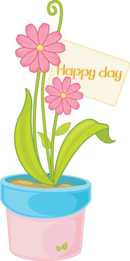 Bloemen met pot stock illustratie