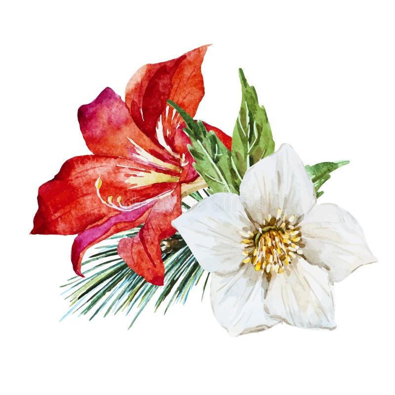 Bloemen met vogel stock illustratie