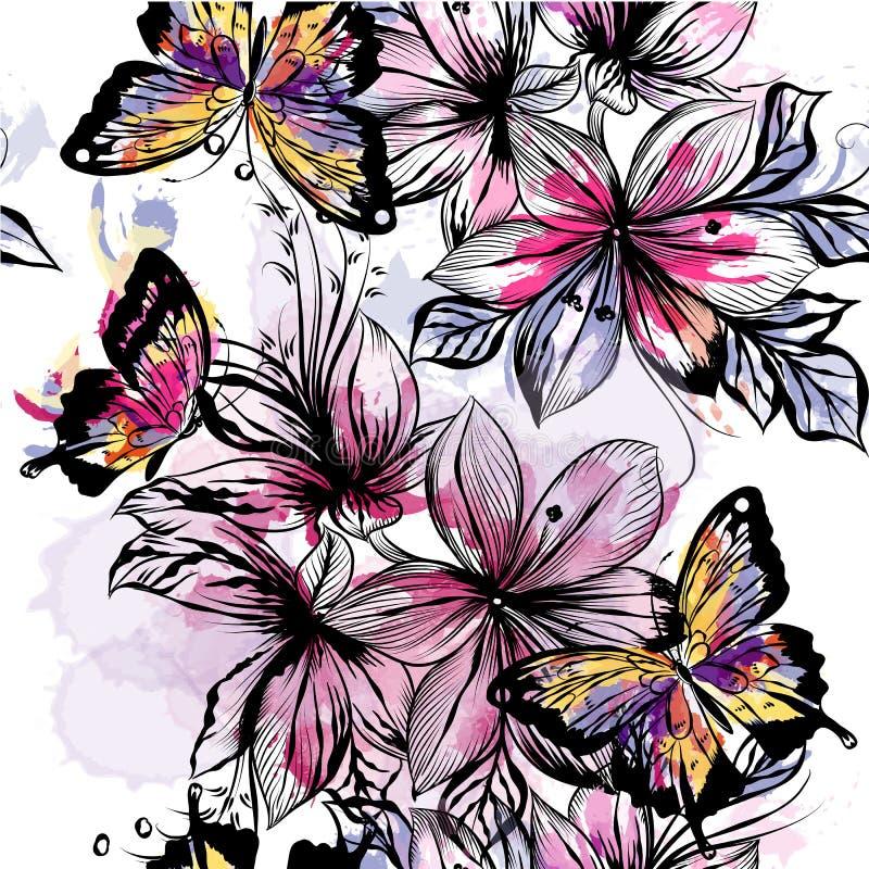 Bloemen naadloos behangpatroon met gegraveerde bloemen en wate royalty-vrije illustratie