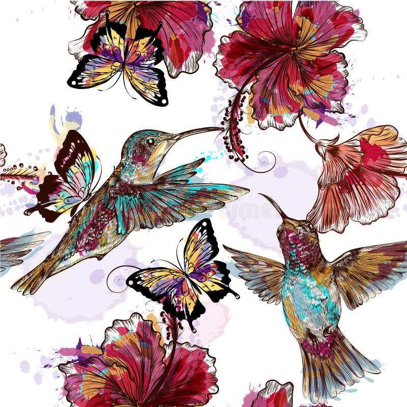 Bloemen naadloos behangpatroon met kolibries stock illustratie
