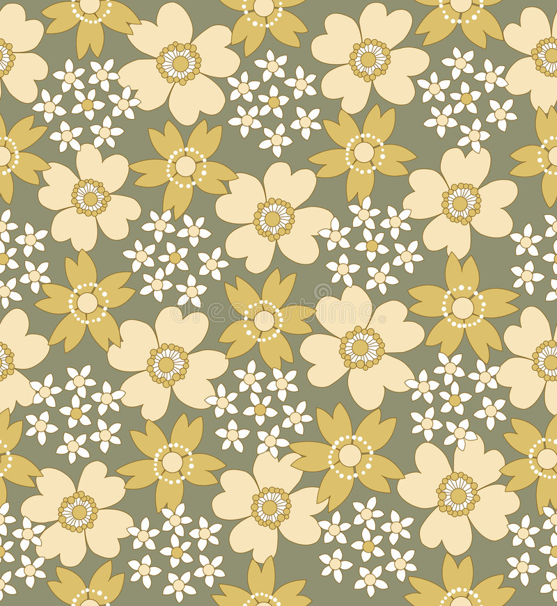 Bloemen naadloos betegeld patroon stock illustratie