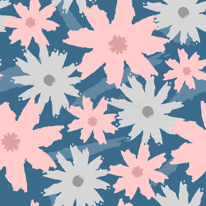 Bloemen naadloos die patroon door borstel wordt geschilderd Grunge, schets, waterverf, graffiti stock illustratie