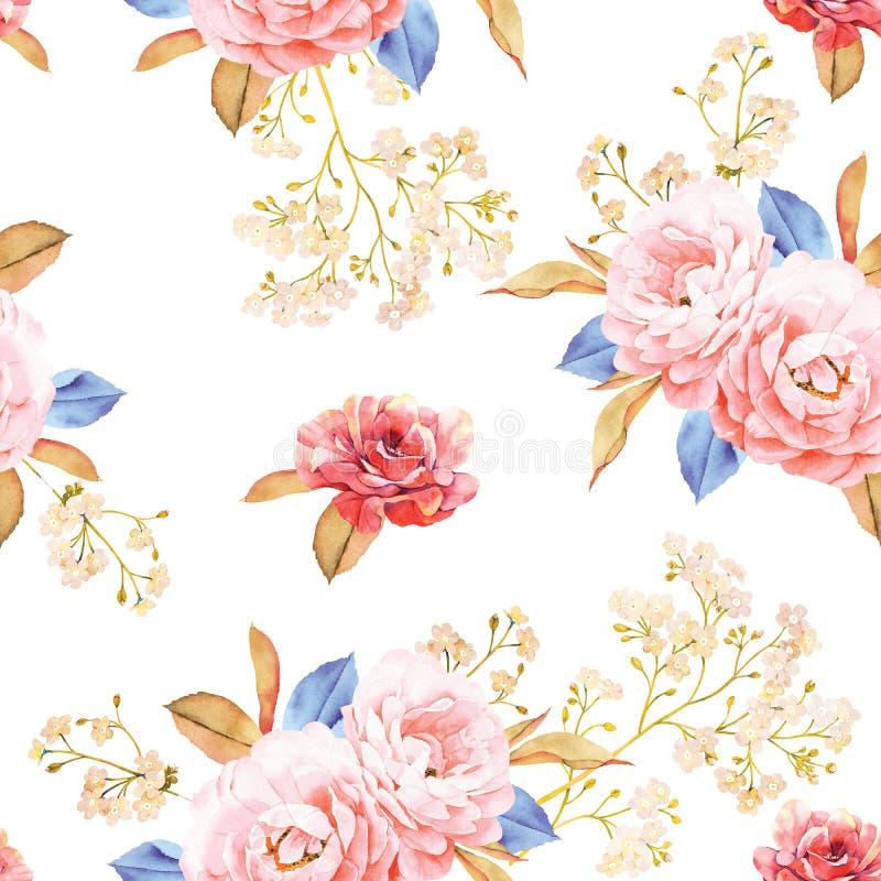 Bloemen naadloos die patroon van rozen, blauwe bladeren wordt gemaakt stock illustratie