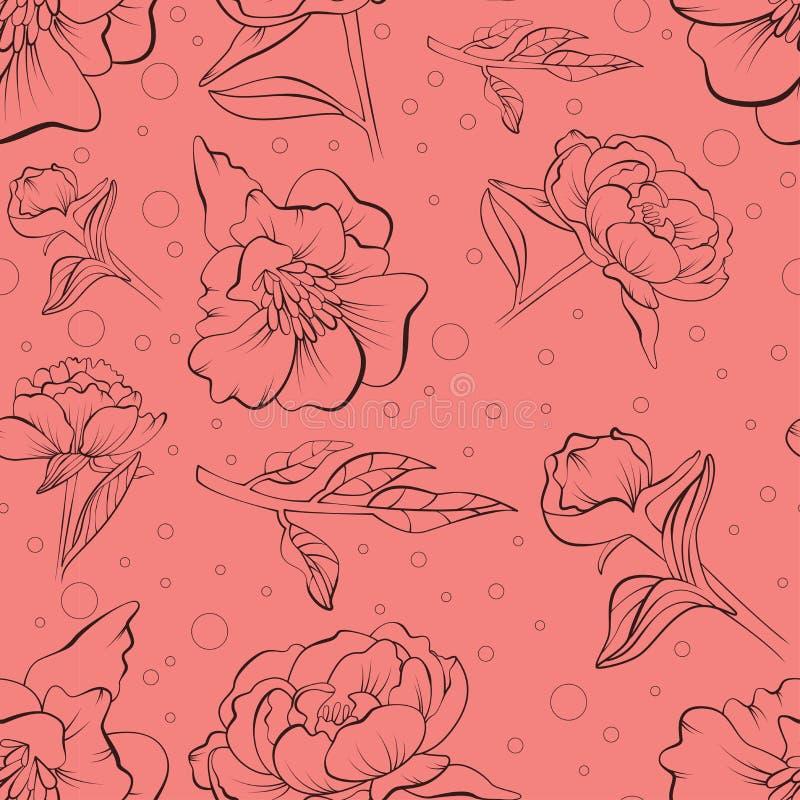 Bloemen naadloos die pioenpatroon in schets wordt getrokken vector illustratie