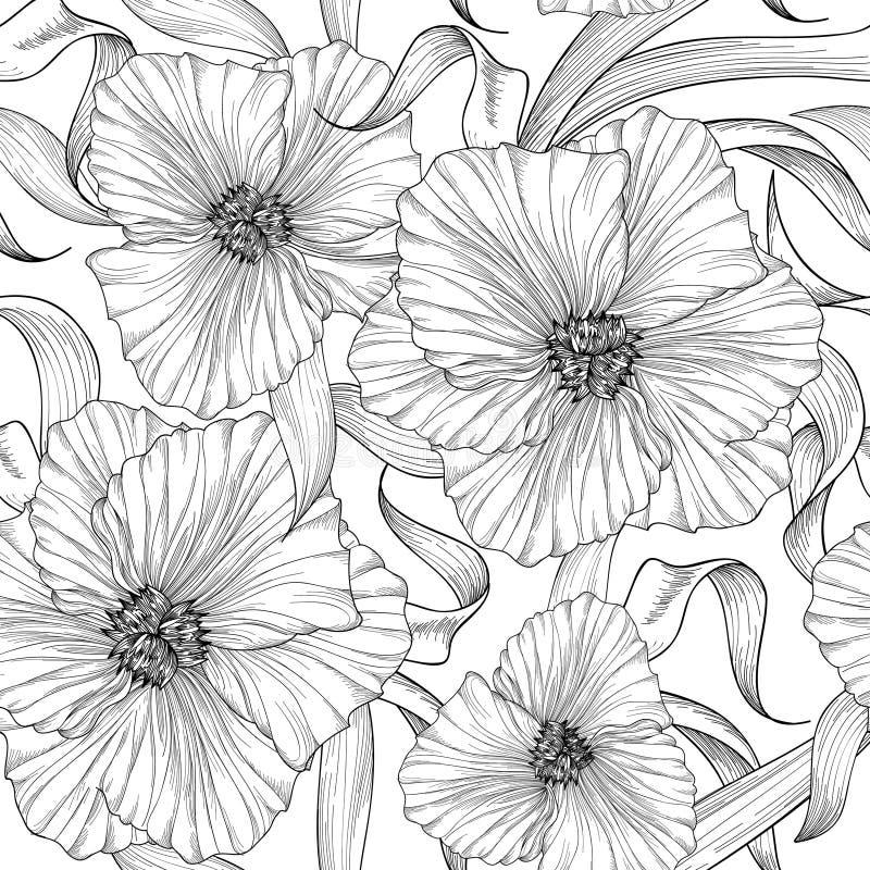 Bloemen naadloos etspatroon De achtergrond van de bloem Het graveren van naadloze textuur met bloemendahlia Bloei betegeld behang vector illustratie