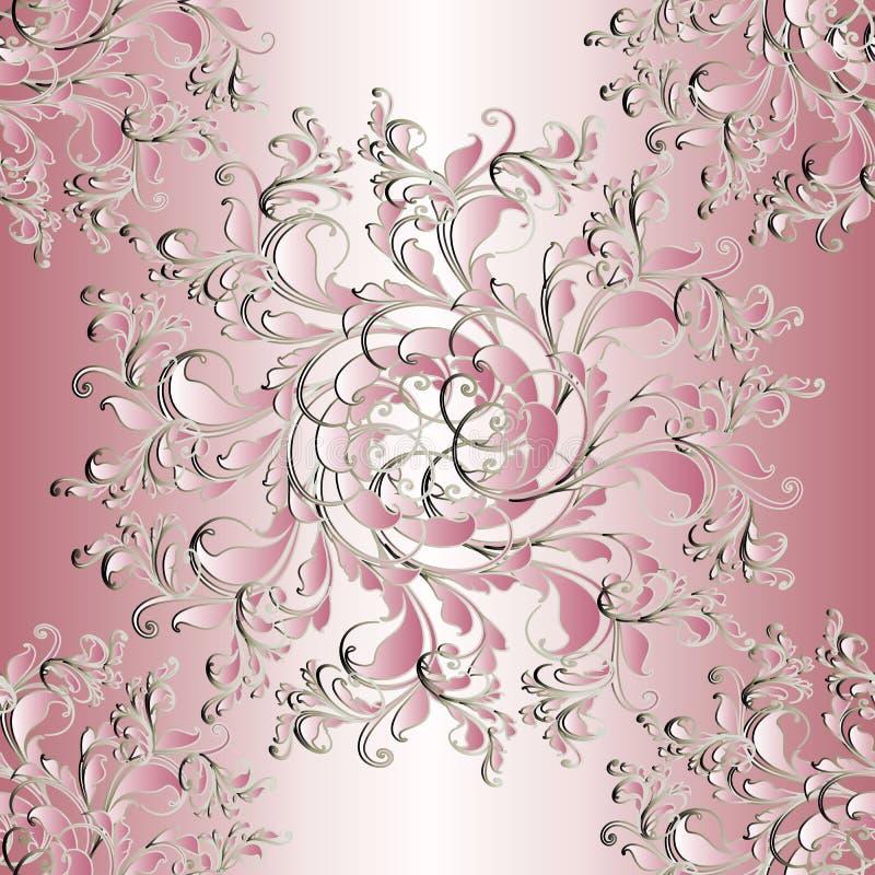 Bloemen naadloos mandalapatroon Lichtrose achtergrond wallpape vector illustratie