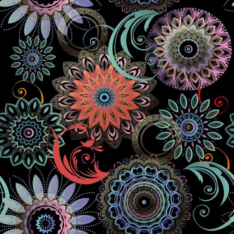 Bloemen naadloos mandalaspatroon Elegantie kleurrijke gevormde achtergrond Etnische stijl kanten bloemen, bladeren De ronde bloei vector illustratie