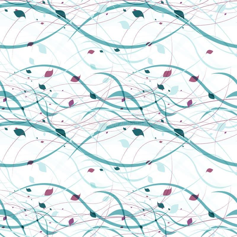 Bloemen naadloos patroon Abstracte golven met royalty-vrije illustratie
