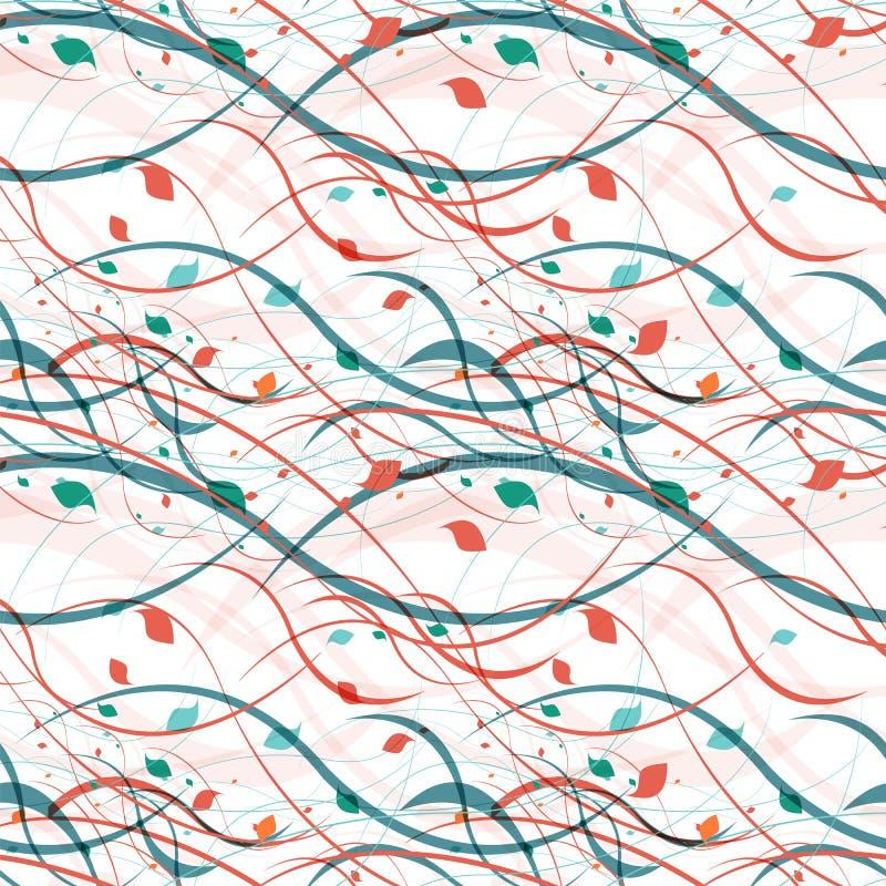 Bloemen naadloos patroon Abstracte golven met stock illustratie