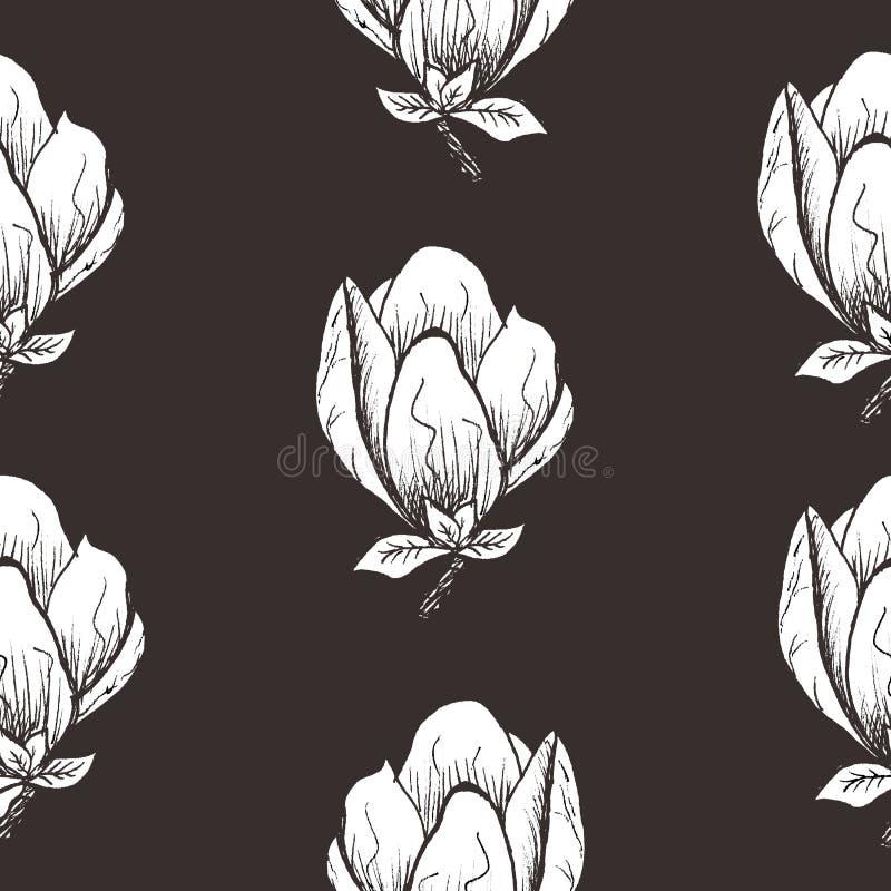 Bloemen naadloos patroon Bloeiende magnolia op een donkere achtergrond Druk voor stof en andere oppervlakten De illustratie van d vector illustratie