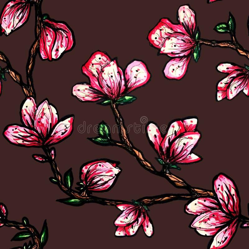 Bloemen naadloos patroon Bloeiende magnolia op een donkere achtergrond Druk voor stof en andere oppervlakten De illustratie van d royalty-vrije illustratie