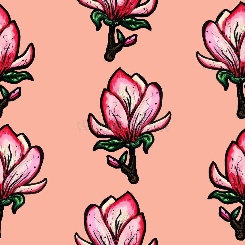 Bloemen naadloos patroon Bloeiende magnolia op een roze achtergrond Druk voor stof en andere oppervlakten De illustratie van de r stock illustratie