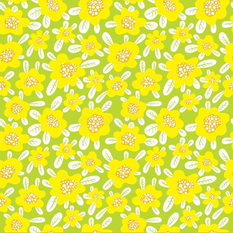 Bloemen naadloos patroon De achtergrond met leuke samenvatting bloeit a royalty-vrije illustratie