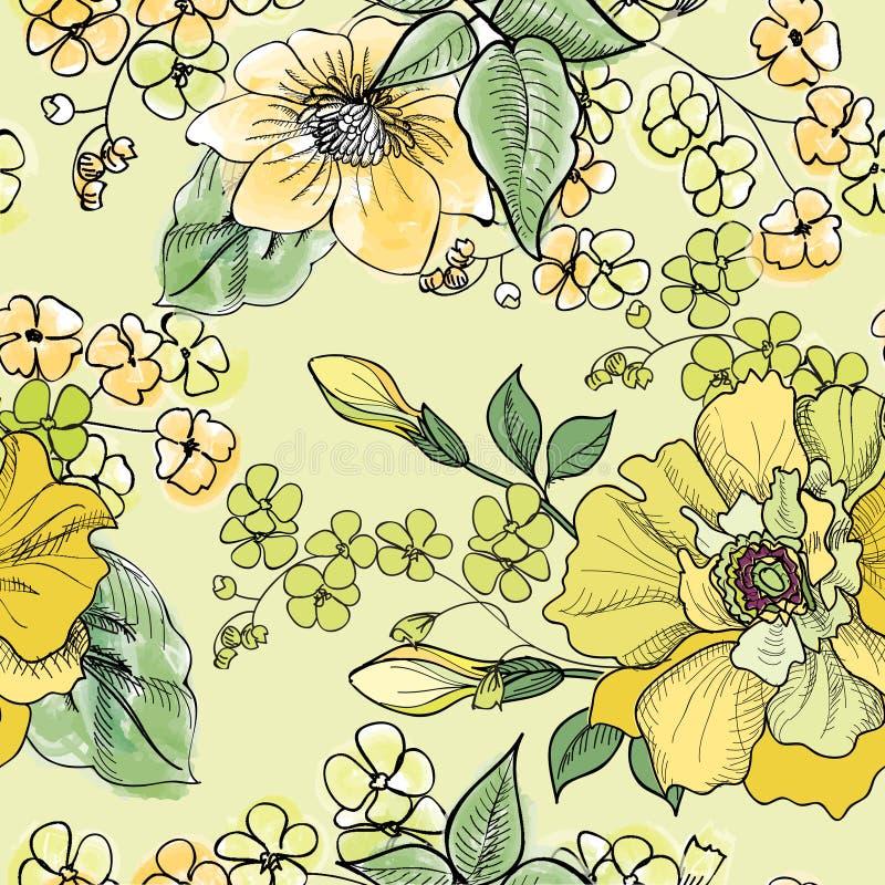 Bloemen naadloos patroon De achtergrond van de bloem royalty-vrije illustratie