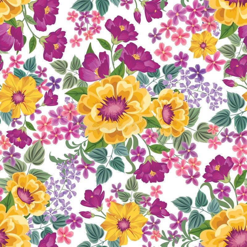 Bloemen naadloos patroon De achtergrond van de bloem De bloementegellente t stock illustratie