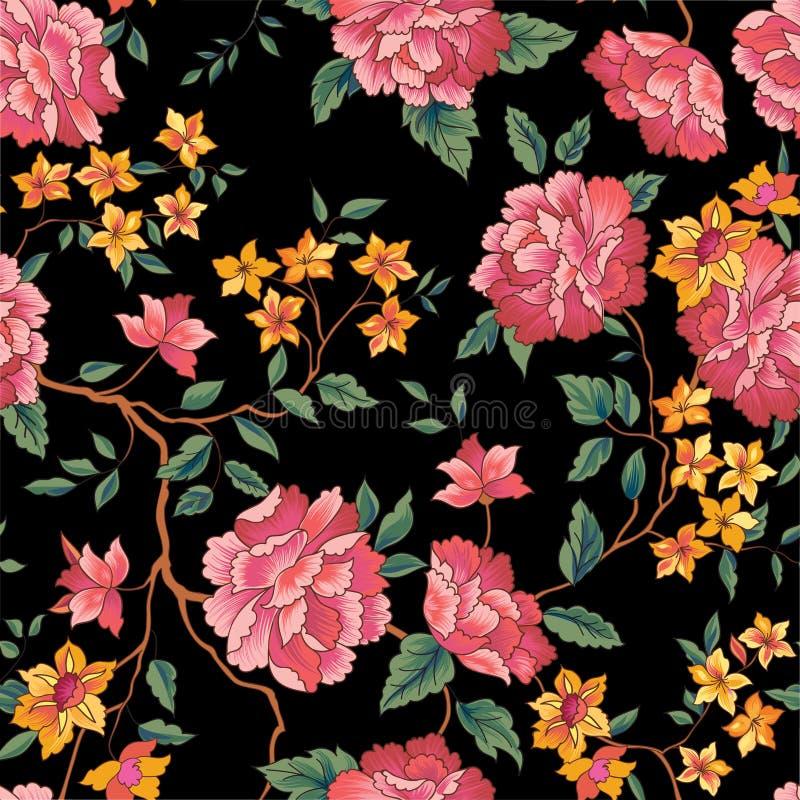Bloemen naadloos patroon De achtergrond van de Oornamentalbloem stock illustratie